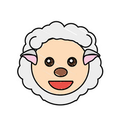 Cute sheep drawing animal vector