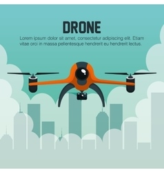 Drone fly over city graphic vector
