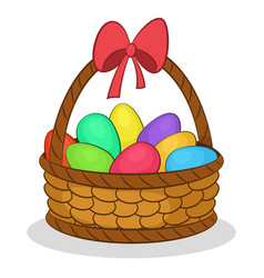 easter basket with painted eggs vector image vector image