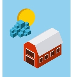 Farm sun cloud icon isometric design vector