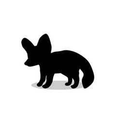 fennec fox black silhouette animal vector image