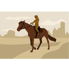 Girl on horseback silhouette vector