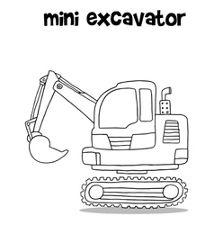 Hand draw of mini excavator vector