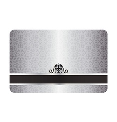 Luxury silver card with vintage pattern and black vector