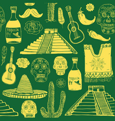 Mexico seamless pattern doodle elements hand vector