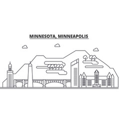 minnesota minneapolis architecture line skyline vector image