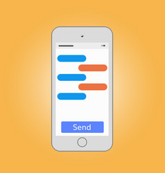 mobile phone massaging with send button vector image vector image