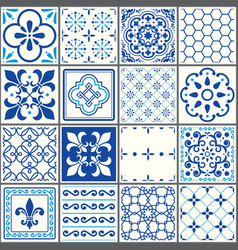 Portuguese tiles pattern lisbon seamless navy blu vector