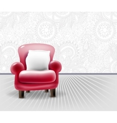Red leather chair with a white pillow in light vector