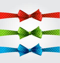 Red polka dot bow and ribbon vector image vector image