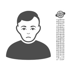 Sad Man Icon With Bonus vector image