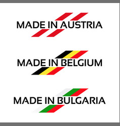 set logos made in austria made in belgium vector image vector image