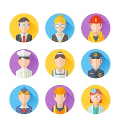Set of flat portraits icons with people vector