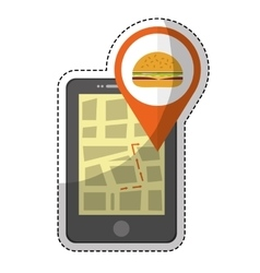 Smartphone with burger icon vector