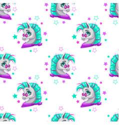 stylish seamless pattern with cute cartoon pony vector image