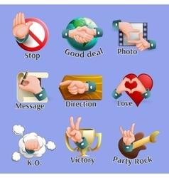 Web social gestures emblems set vector