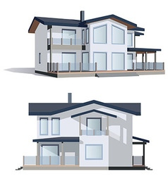 Family house in 2 perspective views vector