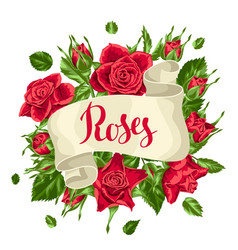 Decorative ribbon with red roses beautiful vector