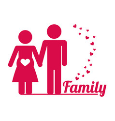 Lovely family couple pregnant poster vector