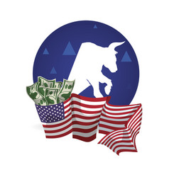 Bull wall street money flag usa vector
