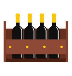 Wine bottles in a wooden crate icon isolated vector