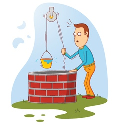 Man at well vector