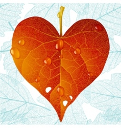 autumn heart and seamless vector image