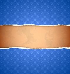 Torn blue ornamental wallpaper vector image