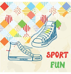 Sport background with sneakers and pattern vector