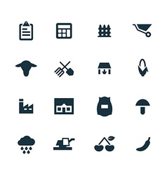 Set of agriculture farm icons vector