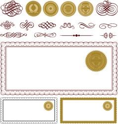 Vector blank certificate frame set vector