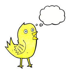 Cartoon tweeting bird with thought bubble vector