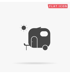 Trailer simple flat icon vector