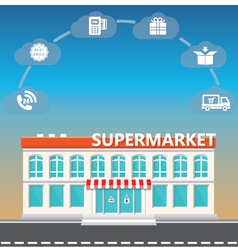 Shop supermarket on the roadside vector