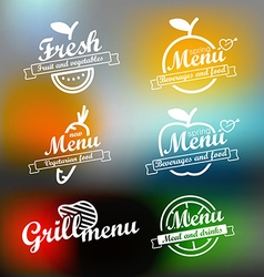 Different menu labels design set lineart concept vector