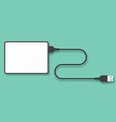 Portable hard disk isolated on a green background vector