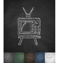 Pensioners watch tv icon hand drawn vector