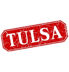 Tulsa red square grunge retro style sign vector