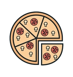 Delicious food italian pizza and gastronomy theme vector