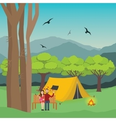 Couple camping in forest man and woman with fire vector