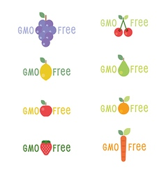 Gmo free tag logo label emblem for plant fruits an vector