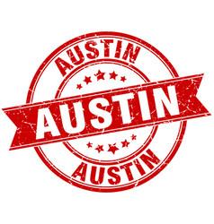 Austin red round grunge vintage ribbon stamp vector