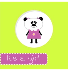 Baby shower card with panda its a girl vector