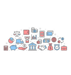 bank with icons vector image vector image