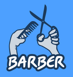 barber emblem vector image