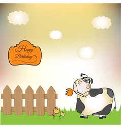 birthday card with cow vector image