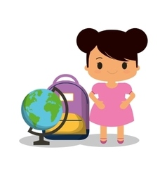 cartoon girl pink dress bag and globe vector image