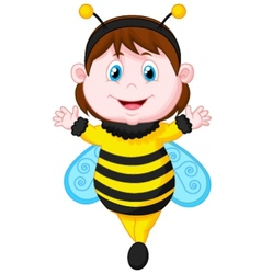 Cartoon little girl dressed as bee vector