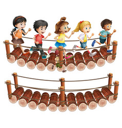 children running across the wooden bridge vector image vector image