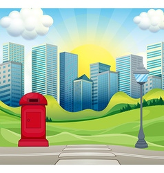 City scene with office buildings and park vector